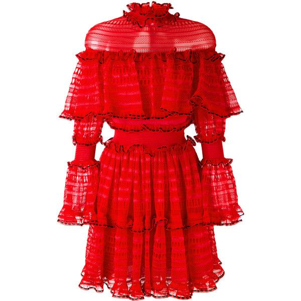 Alexander McQueen A-line mini dress (£3,720) ❤ liked on Polyvore featuring dresses, alexander mcqueen, red, short red dress, ruffled dresses, long sleeve short dress, short dresses and red ruffle dress