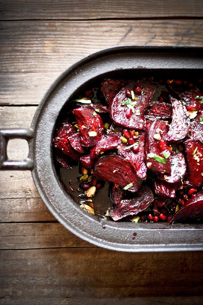 Delicious Moroccan Roasted Beets with pomegranate seeds, toasted pistachios, and a balsamic glaze.