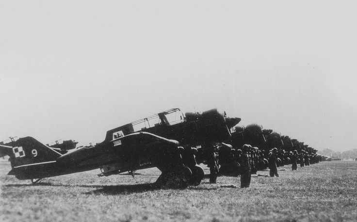 Torun, Poland, 1939. Flight Line PZL 23 Karas of the 41st Squadron of the 4th Regiment of the Polish Air Force with their crews.