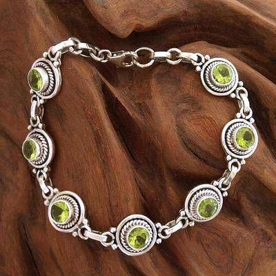 Peridot Bracelet Women's Sterling Silver Bracelet #SterlingSilverDress