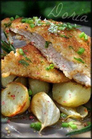 Escalopes de veau Milanaise, pommes de terre confites au romarin - La cuisine de Doria