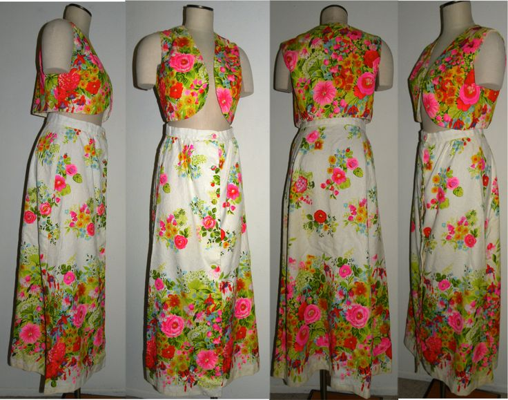 1960s 60s Hostess outfit / COCO California / Maxi Skirt / Vest / Floral / Kawaii / Aloha /Bohemian / 2 piece set / Vintage / S/M - pinned by pin4etsy.com