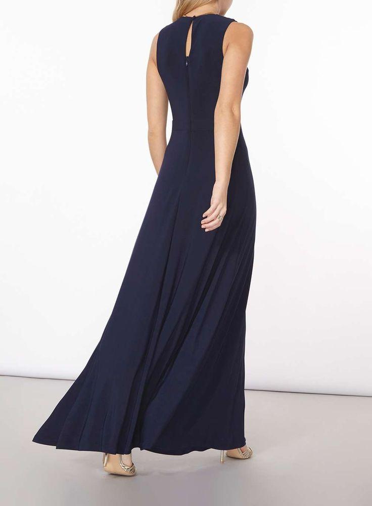 Womens Navy Necklace Trim Maxi Dress- Blue