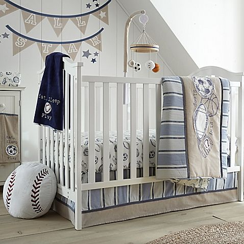 Levtex Baby surrounds your little all-star with his favorite sports in the charming Little Sport Crib Bedding Collection. Featuring soothing navy and chambray stripes and playful appliques, he'll be dreaming of championships to come.