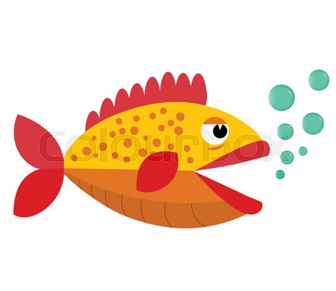 Cute Fish Open Mouth With Blowing Bubbles Cartoon Cute Fish Fish Vector Mouth Animation