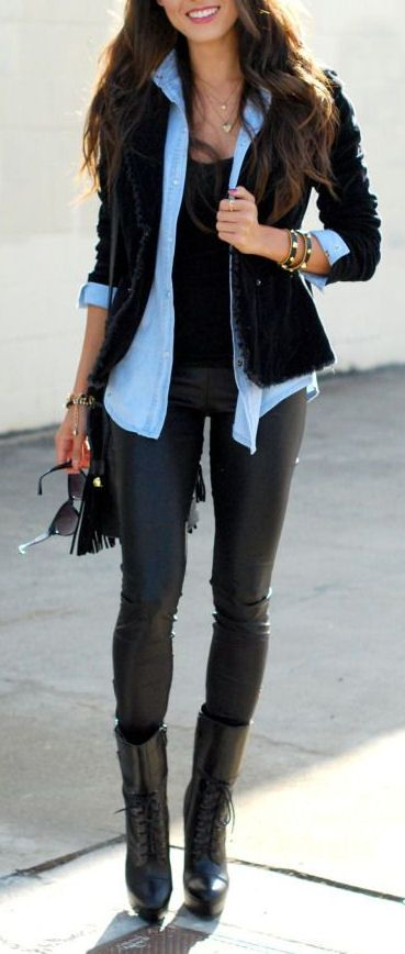 Leather Pant & Chambray <3 Great Layered Look .. Love it!