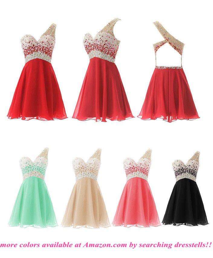 Dresstells® One Shoulder Homecoming Dress with Beadings Short Bridesmaid Dress