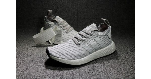 2017 New Adidas NMD R2 Primeknit Gris Blanco Men Shoes