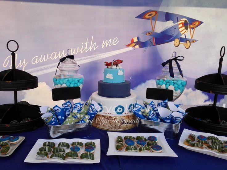 Στολισμός βάπτισης με θέμα το αεροπλάνο.  Baptism plane theme  #decoration #christening #baptism #airplane #plane #party #ideas #nikolas #volos #blue