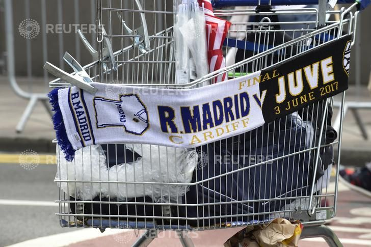 Juventus v Real Madrid - UEFA Champions League Final - The National Stadium of Wales, Cardiff - June 3, 2017 General view of merchandise for sale outside the stadium before the match Reuters
