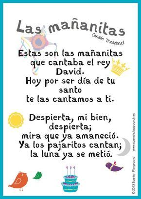 Happy birthday song in Spanish is Las mañanitas. An explanation of the significance of the lyrics and free printable lyric sheets with 2 designs.