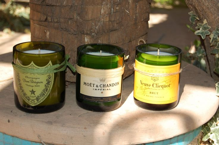 LA Wine Accessories - Recycled Wine Bottle Candle - Champagne, $19.95 (http://www.lawineaccessories.com/recycled-wine-bottle-candle-champagne/)