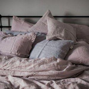 linnen dekbedovertrek - lichtroze - pink lavendel - casa comodo