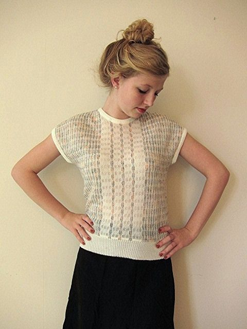 SALE Short sleeve batwing pastel colored sweater by vonBingen