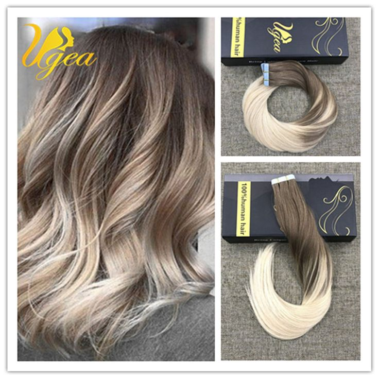 Balayage Ombre Light Brown to Bleach Blonde Remy Tape in Human Hair Extensions