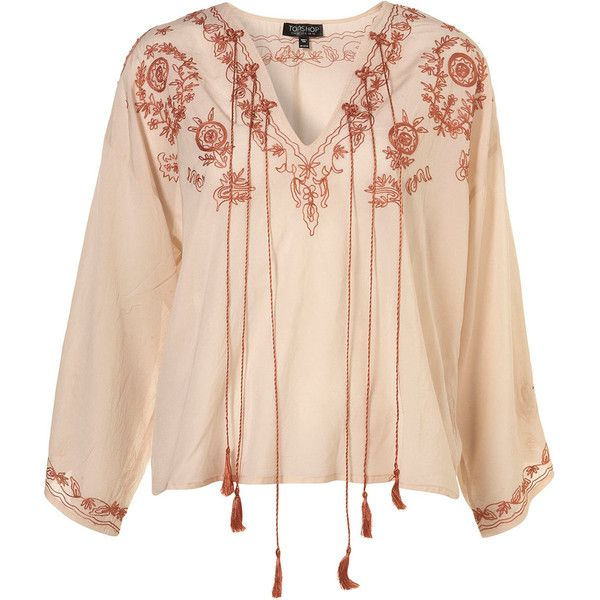 Nude Gypsy Embroidered Tassel Blouse ($80) ❤ liked on Polyvore featuring tops, blouses, shirts, blusas, women, rayon shirts, tassel shirt, beige shirt, beige blouse and rayon tops