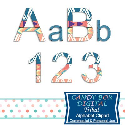 Tribal Alphabet Clipart by Candy Box Digital. Great Native American Indian style alphabet clipart. Use it for scrapbooks, journals, blogs, websites, announcements, invitations, or print it out for paper crafts - Candy Box Digital