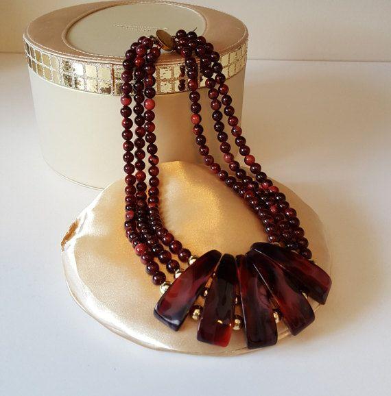 Vintage Fan Bib Necklace Burgundy Wine Swirl and by RetroEnvy21