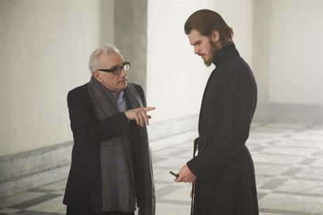 In this Feb. 6, 2015 image distributed by 2016 FM Films, LLC., film director Martin Scorsese, left, directs protagonist Rodriguez played by Andrew Garfield during a filming of his latest film Silence. Japan film director Shinya Tsukamoto was drawn to Scorsese's 'Silence' and his own films by the evolution of a recurrent theme - the nature of violence. (2016 FM Films, LLC. via AP)