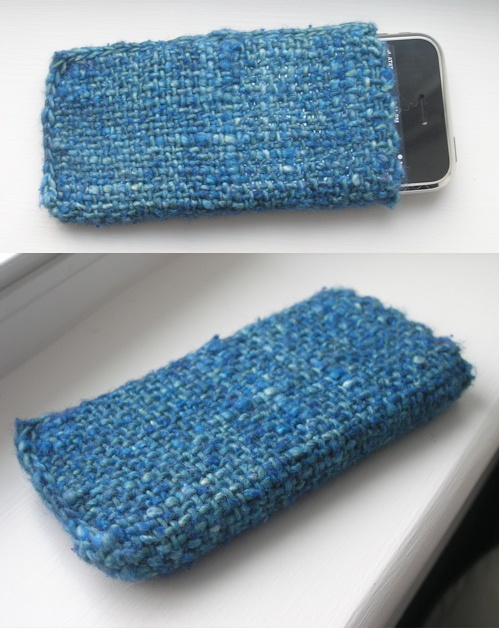 """Easy iSock project for your smartphone. Use a 6"""" x 6"""" pin loom, weave a square, fold in half, and stitch up the bottom and side."""