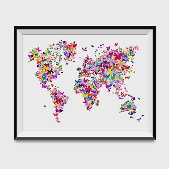 Butterflies Map of the World Map Art Print by WallKandi on Etsy