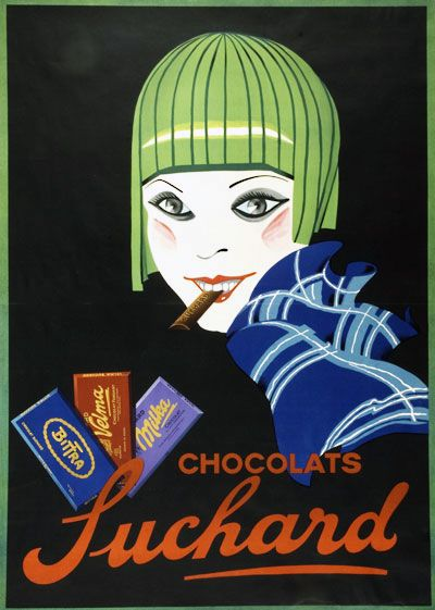 """Bittra, Velma, Milka, Suchard chocolate"" anonymous poster, 1927. (Suchard Fund, Museum of Art and History, Neuchâtel (Switzerland)"