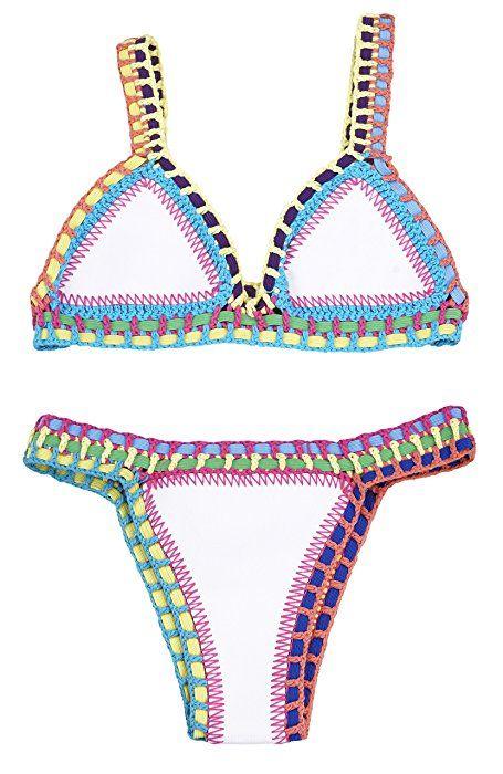 YARBAR Sexy Mixte Couleur Bikini Women Bra TRIANGL Néoprène Crochet Maillots de Bain (Small, Jaune)