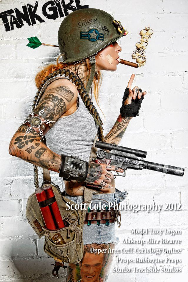 Tank girl | writing and stains/dirt on helmet |  hand tattoos?