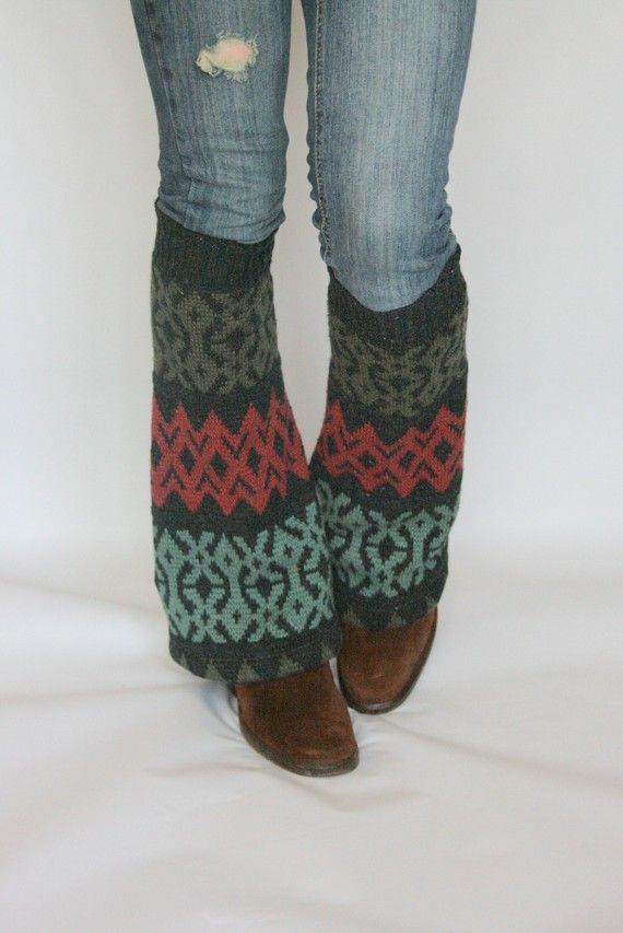 Upcycled Recycled Repurposed Sweater Leg Warmers Ikat Charcoal Teal Taupe Ruby. $24.00, via Etsy.