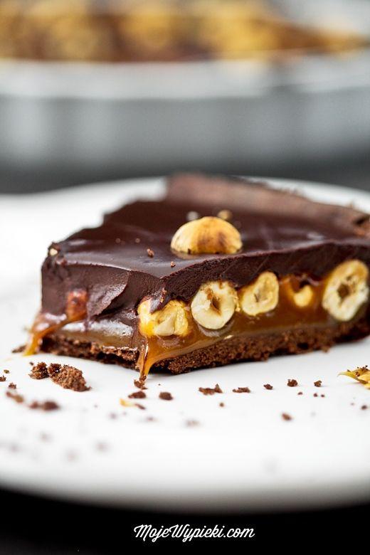 Schokoladentarte mit Karamell und Haselnüssen #Rezept
