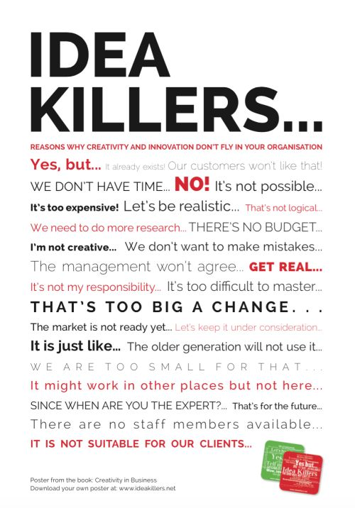 The official IDEA KILLERS posterDownload the idea killers poster (high res PDF) from the book Creativity in Business, the reasons why creativity & innovation don't fly in your organisation.