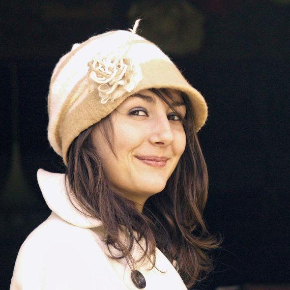 nuno felted hat merino wool cream white wedding hat by jannio, $86.00