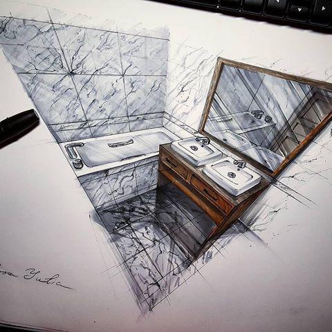 Мраморная ванная от @orlova.yuyu #copic #copicmarkers #sketch #sketches #interior #design #concept #sketching #perspective #interiorsketch #interiordesign #перспектива #интерьер #скетчинг #скетч #дизайн #маркеры #скетчингмаркерами #ванная