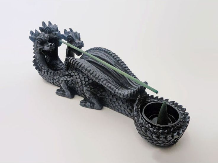Black Scaly Three Headed Dragon Incense Stick and Cone Holder Combo - IBH110 - Black scaly three headed dragon polyresin incense stick and incense cone holder and burner combo. Use with our incense sticks and incense cones. Quantity discounts on our incense cones and incense sticks available. Visit our store for pricing.
