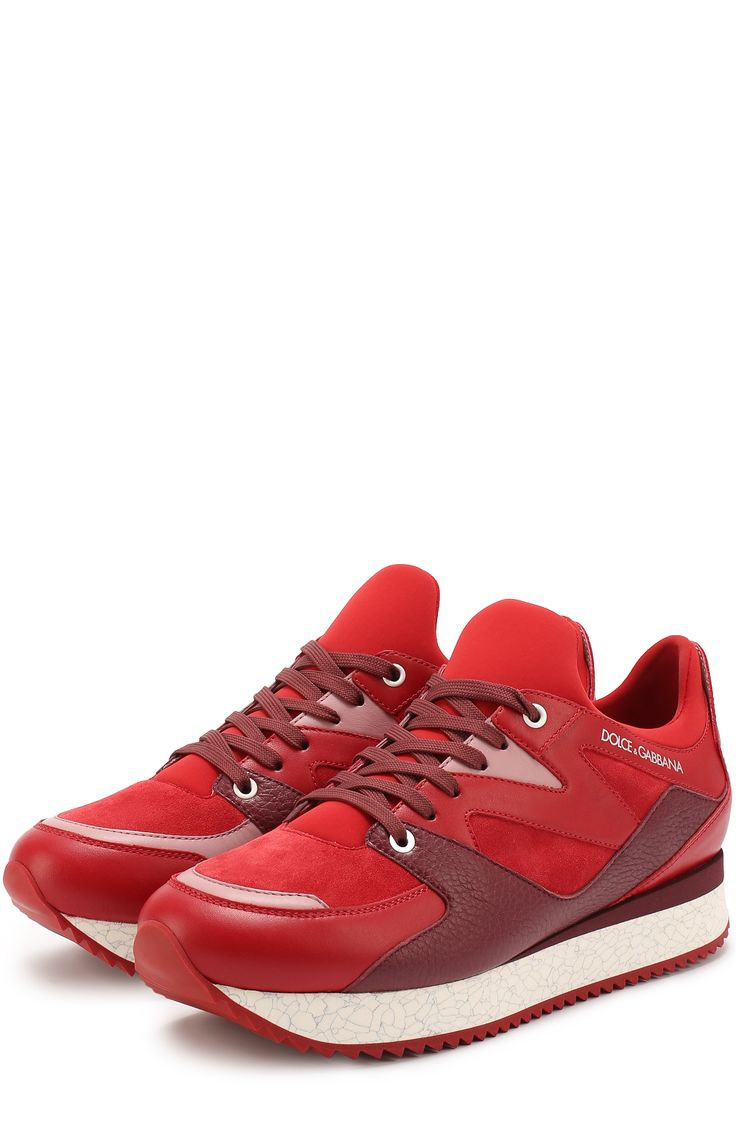 Мужские красные кроссовки belgrado из комбинированной кожи Dolce & Gabbana, арт. 0111/CS1424/AD445 купить в ЦУМ | Фото №2