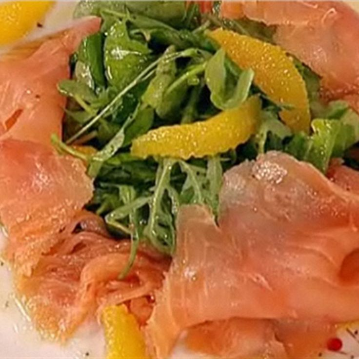Try this Smoked Salmon with Campari and Lemon Dressing recipe by Chef Antony Worrall Thompson.