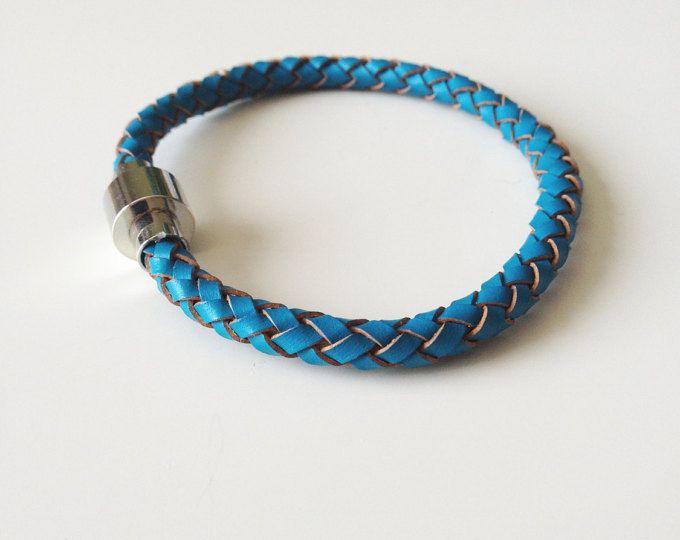Blue Leather Bracelet with Magnet Clasp - Braided Leather Bracelet -  Women's Bracelet - Teenager Bracelet -  Men's Bracelet - Valentine