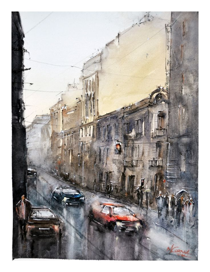 Watercolor painting by Maria Cornea Cityscape Bucharest 30x40 cm