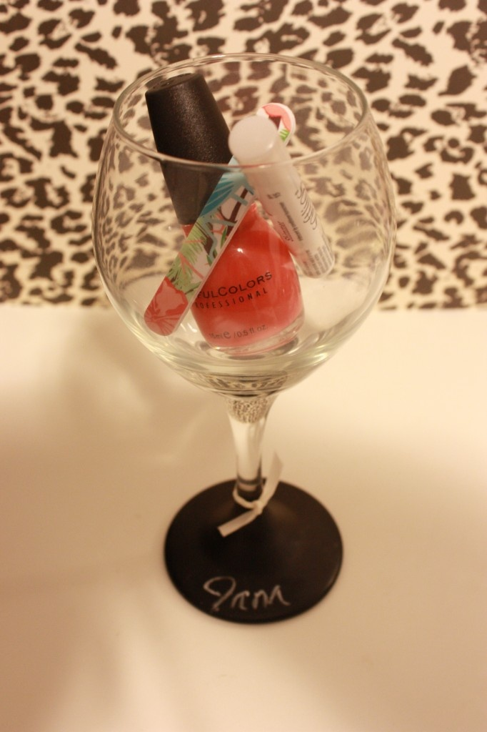 Chalkboard Painted Wine Glasses - Favor for a Bachelorette Party: Wine Glass, Bridesmaid