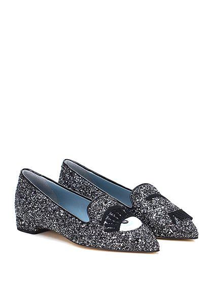 Chiara Ferragni - Flat shoes - Women - Scarpa bassa in glitter con applicazioni frontali e suola in cuoio. Tacco 20. - NERO\SILVER