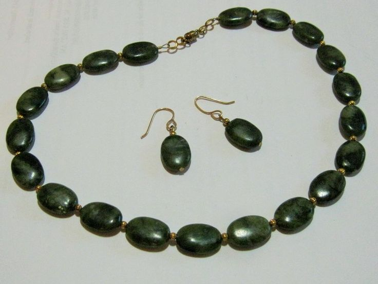 Vintage Oval Green Stone Beaded Necklace and Earrings Set #NA