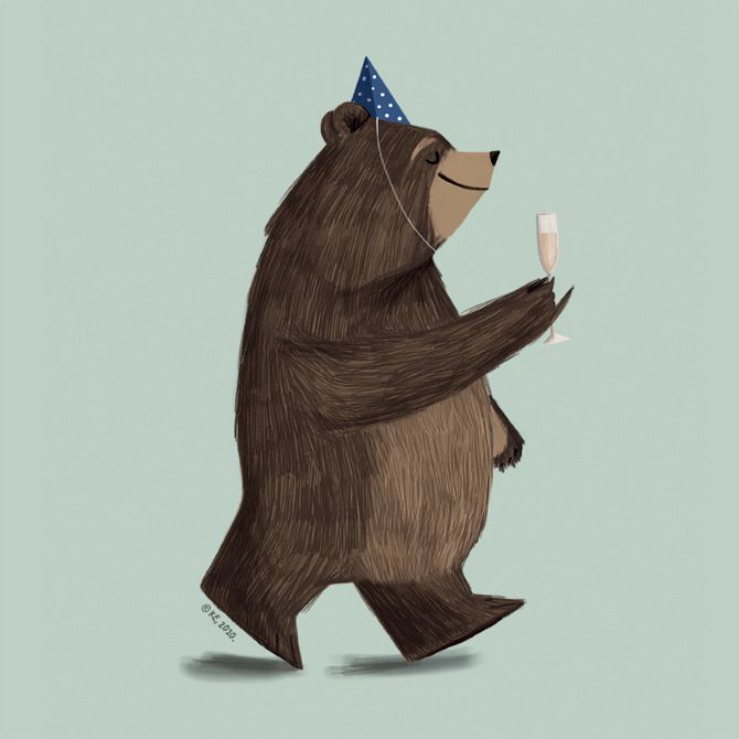 Champagne Bear - ILLUSTRATION by Pencil Pocket