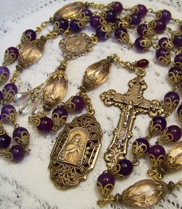 French Rosary ~ St Therese ~ Amethyst Gemstones & Blush Pink Quartz ~ Bronze