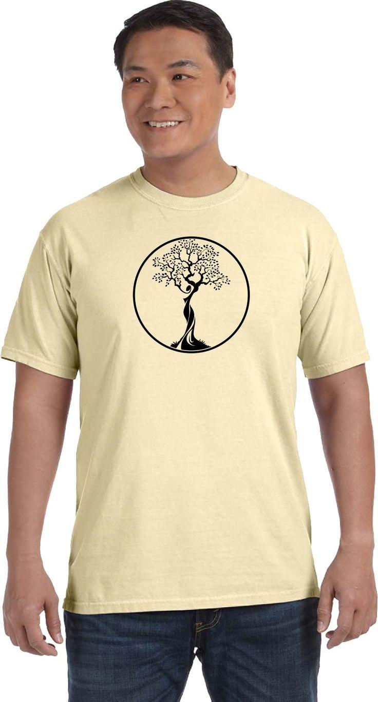 Black Tree of Life Circle Pigment Dye Yoga Tee Shirt