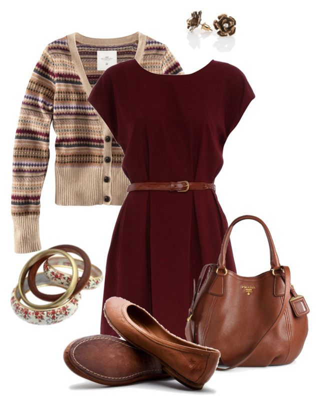 """""""Once Upon a Time - Mary Margaret Blanchard"""" by nancykv91 ❤ liked on Polyvore featuring H&M, Dorothy Perkins, Frolick Jewelry, Prada, Frye, women's clothing, women, female, woman and misses"""