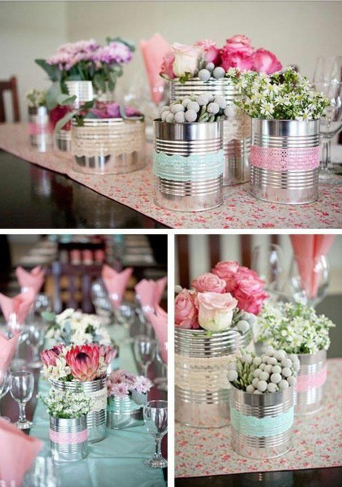 Geconserveerde vazen versierd met kant, bloemen, lentedecoratie, feestdecoraties  – deko