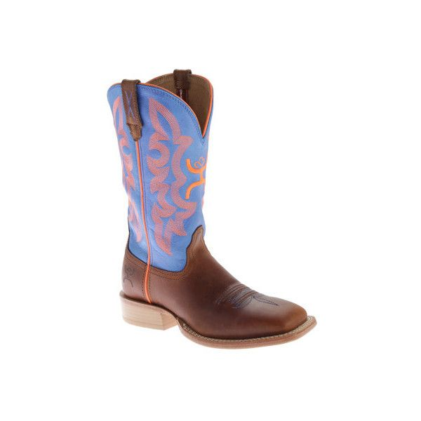 Women's Twisted X Boots WHY0002 Hooey ($149) ❤ liked on Polyvore featuring shoes, boots, casual, cowboy boots, blue cowgirl boots, blue shoes, neon boots and western style boots