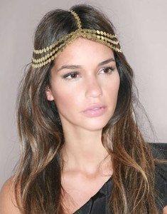 ( min. El fin es $10) tono oro t de la corona de la cadena de piedra la cabeza hairband diadema banda de pelo