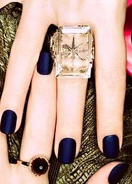 That big crystal ring looks amazing with the midnight blue matte nail polish