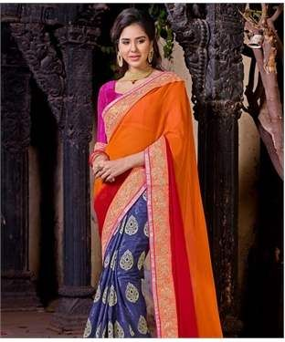 Poly Georgette Saree with Blouse | I found an amazing deal at fashionandyou.com and I bet you'll love it too. Check it out!